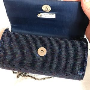 Bags - Beautiful Blue beaded Delill hardcover bag. Spring